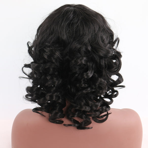Shoulder Length Big Curly Black Synthetic Wig With Bangs Hot Sale