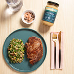Grilled Steak with Tabbouleh Salad + Australian Bone Broth Natural Beef