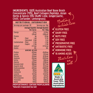 Ingredient and Nutritional Information Panel for you to view. Our Made in Australia Logo showing 79%  Australian Ingredients.