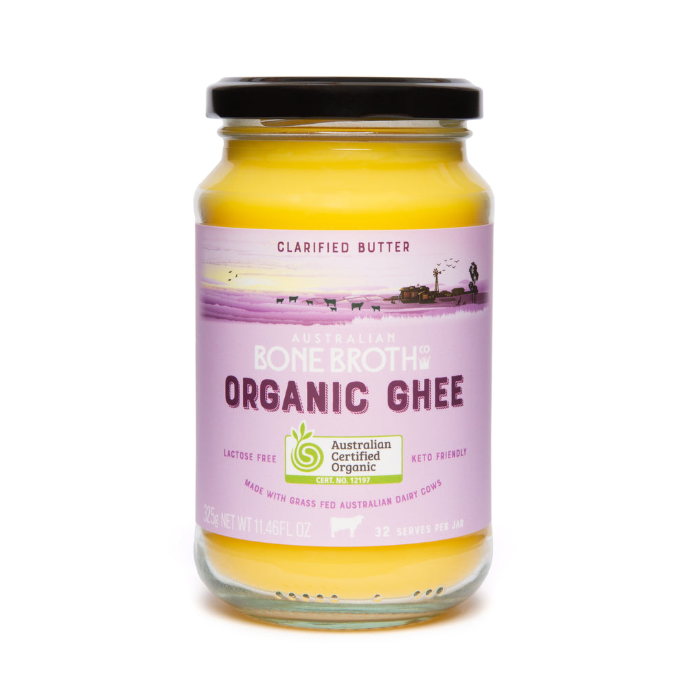 Organic Certified Grass-Fed Ghee - Unsalted butter from Australian grass-fed cows. 325 gram Jar