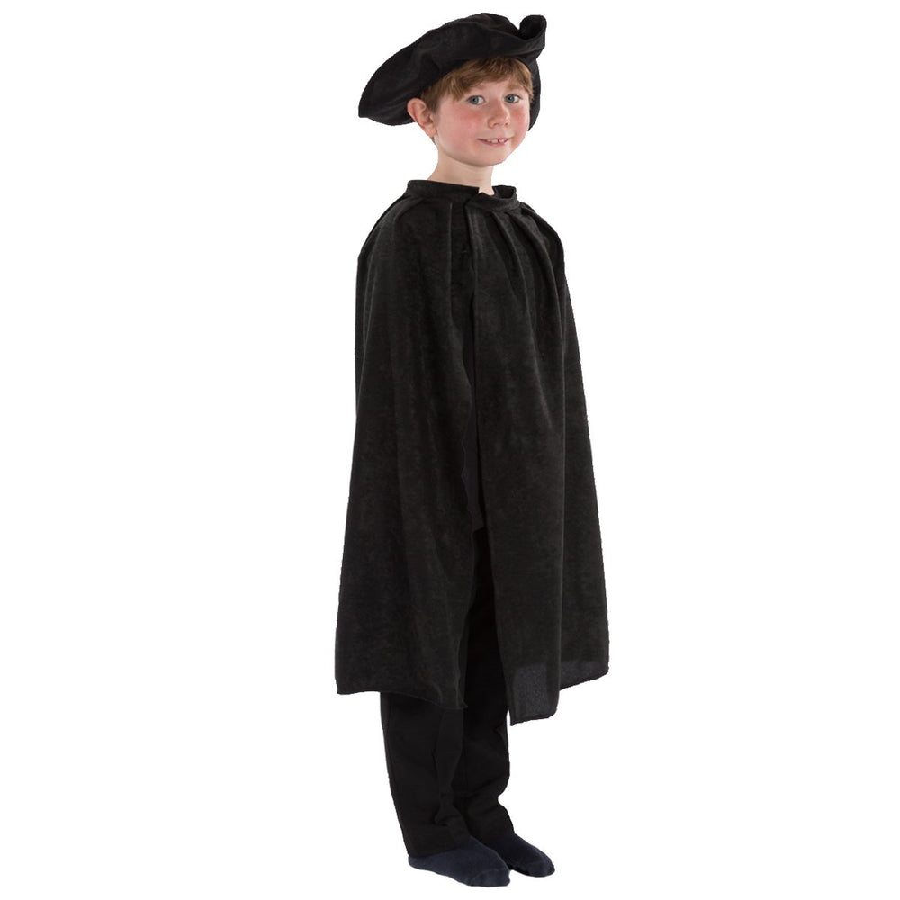 Image of Black Tricorn hat and Cape for kids | Charlie Crow