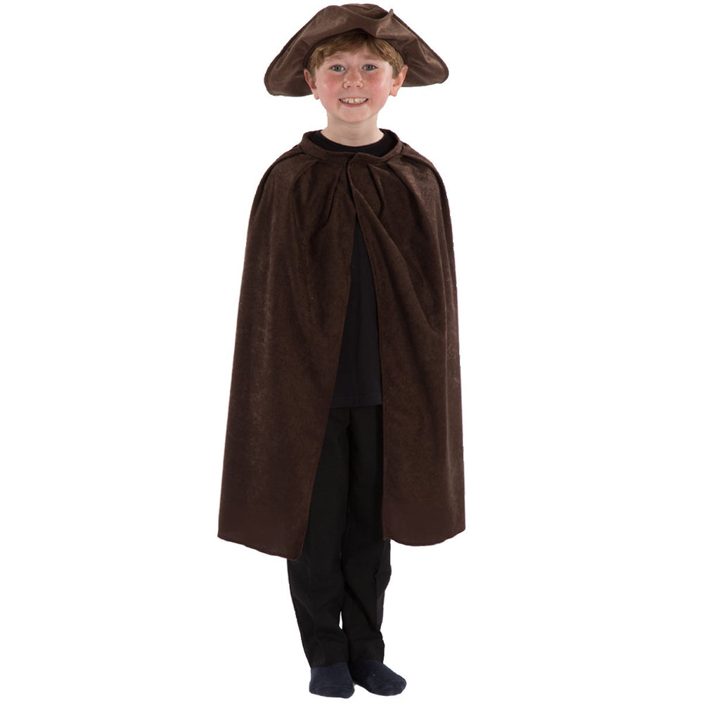 Image of Brown Tricorn hat and Cape for kids | Charlie Crow