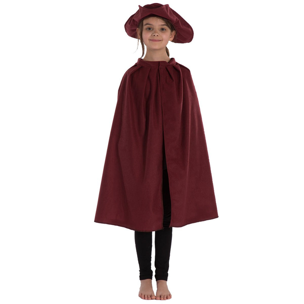 Image of Burgundy Tricorn hat and Cape for kids | Charlie Crow