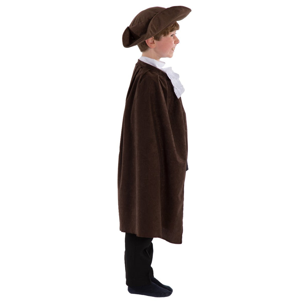 Brown Tricorn hat and Cape with white Cravat