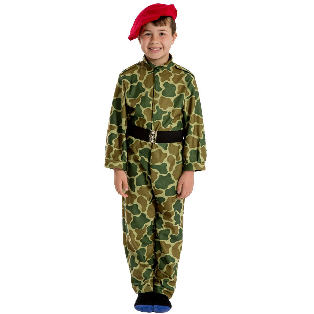 Image of Red beret soldier | Army camouflage kids costume | Charlie Crow