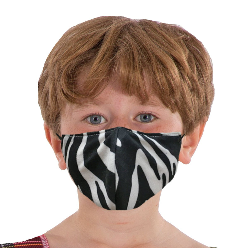 Image Face coverings design for children and adults | Zebra animal print| Charlie Crow