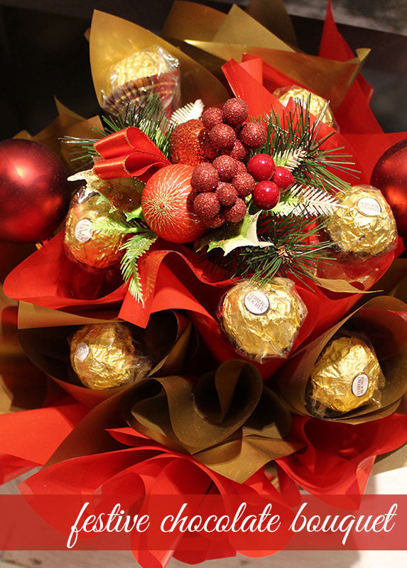 Festive Chocolate Bouquet | Gold Coast Flowers, Brisbane Flowers   Petals  On The Plaza   Buy Flowers Online Florist Brisbane U0026 Gold Coast QLD