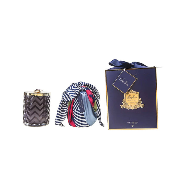 Herringbone Candle With Scarf Eau De Vie - Navy & Dragonfly Lid