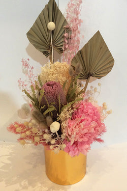 Pink & Natural Arrangement in Gold Pot
