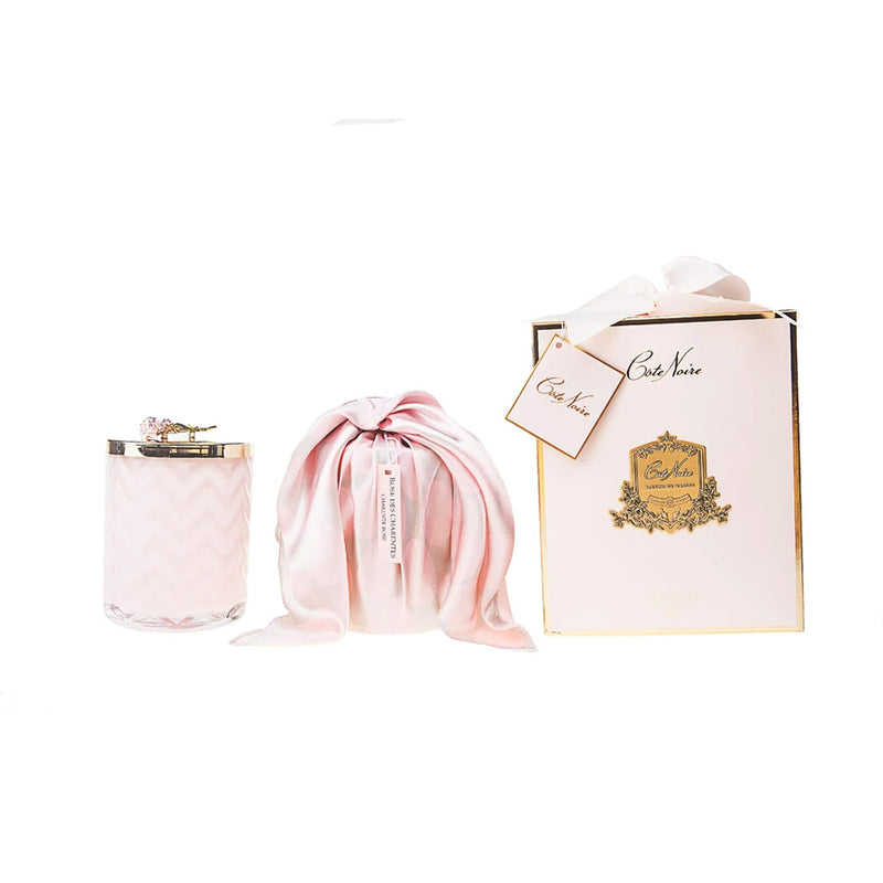 Herringbone Candle With Scarf - Pink & Pink Rose Lid