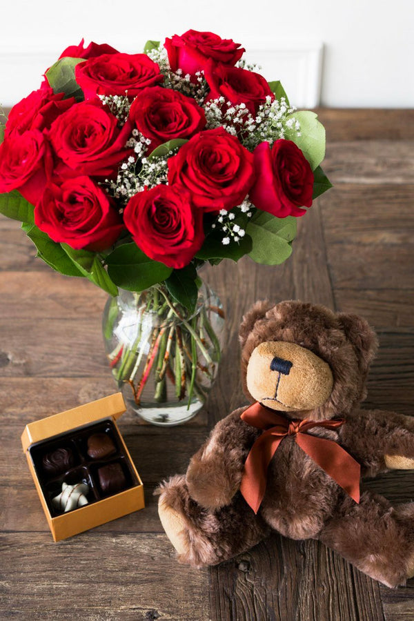 1 Dozen Colombian Roses In Vase With Bear and Chocolates