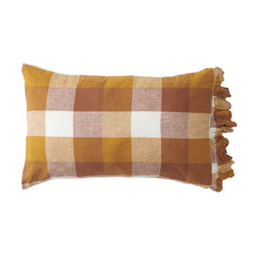 Biscuit Check Ruffle Pillowcase set of Two