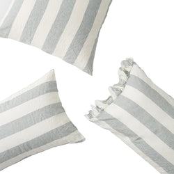 Fog Stripe Ruffle Pillowcase Set of Two