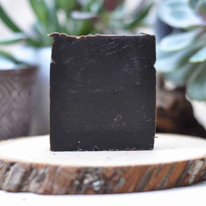 modeled afer the old fashioned pine tar soap recipe this bar is just like the original, its brownish black and it has a strong scent that smells like pine tar