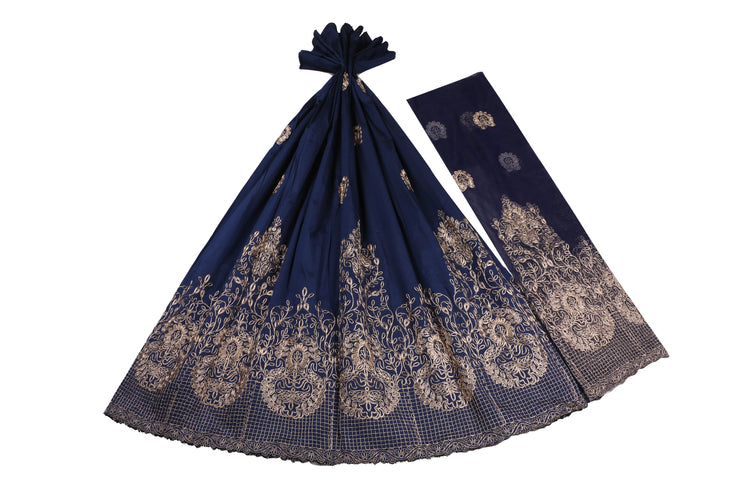 Machine Embroidered George Wrapper Design # 7397 - Navy Blue - With Blouse