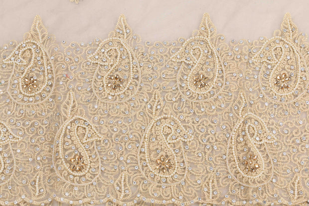 Hand Embroidered Blouse Design # 3410 - Cream - 1.75 Yards
