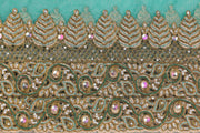 Hand Embroidered Blouse Design # 3409 - Teal Green - 1.75 Yards