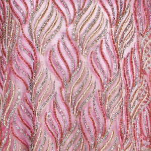 Hand Embroidered Fabric Design # 4114 - Baby Pink - Per Yard