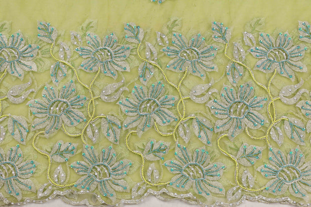 Hand Embroidered Blouse Design # 3412 - Lime Green - 1.75 Yards
