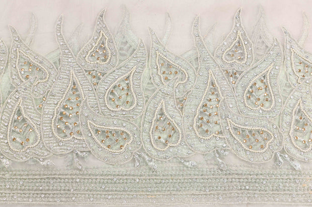 Hand Embroidered Blouse Design # 3411 - Pure White - 1.75 Yards