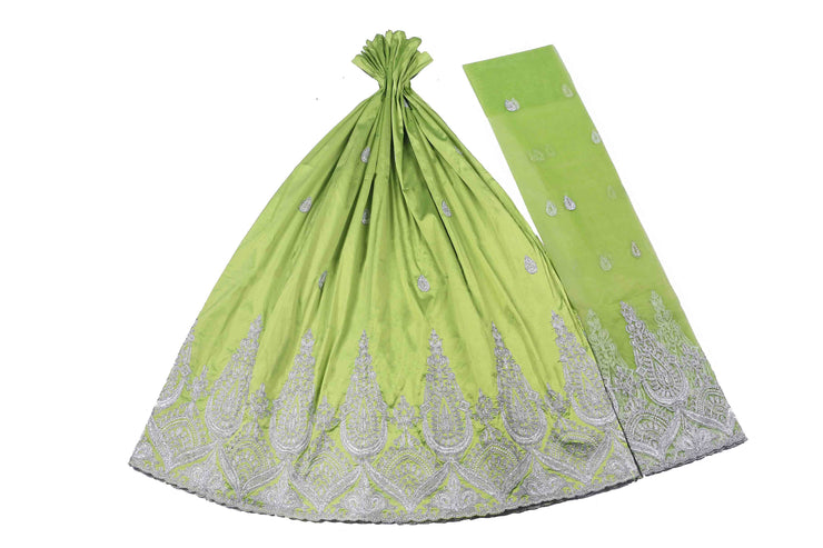 Machine Embroidered George Wrapper Design # 7389 - Lime Green - With Blouse