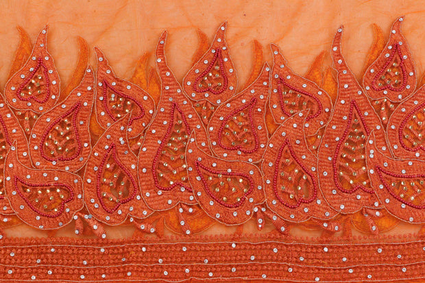 Hand Embroidered Blouse Design # 3411 - Burnt Orange - 1.75 Yards