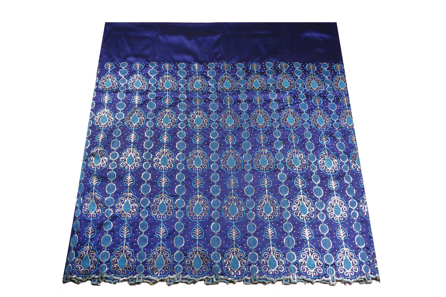 Hand Stoned George Wrapper Design # 6548 - Royal Blue - Without Blouse