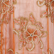 Hand Embroidered Fabric Design # 4115 - Burnt Orange - Per Yard