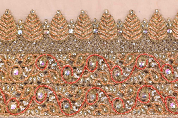 Hand Embroidered Blouse Design # 3409 - Peach - 1.75 Yards