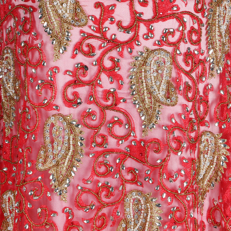Hand Embroidered Fabric Design # 4108 - Coral - 5 Yard Piece