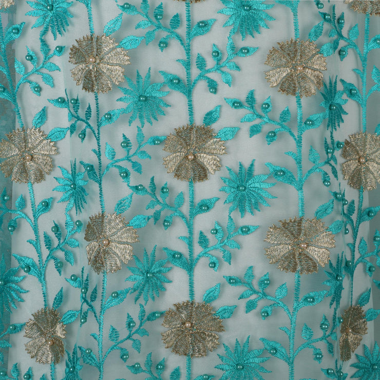 Machine Embroidered Fabric Design # 4029- Sky Blue- With Pearls - 5 Yard Piece
