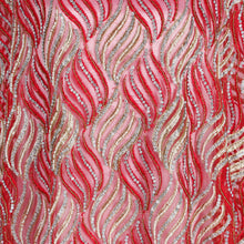 Load image into Gallery viewer, Hand Embroidered Fabric Design # 4114 - Red - Per Yard