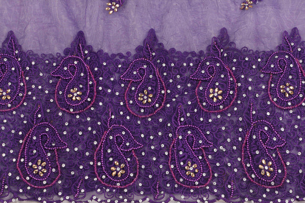 Hand Embroidered Blouse Design # 3410 - Purple - 1.75 Yards
