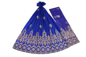 Machine Embroidered George Wrapper Design # 7396 - Royal Blue - With Contrast Blouse