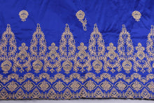 Load image into Gallery viewer, Machine Embroidered George Wrapper Design # 7396 - Royal Blue - With Contrast Blouse
