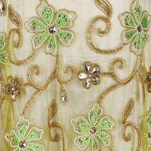 Load image into Gallery viewer, Hand Embroidered Fabric Design # 4101 - Lime Green - Per Yard