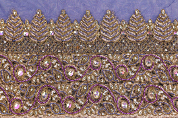 Hand Embroidered Blouse Design # 3409 - Royal Blue - 1.75 Yards