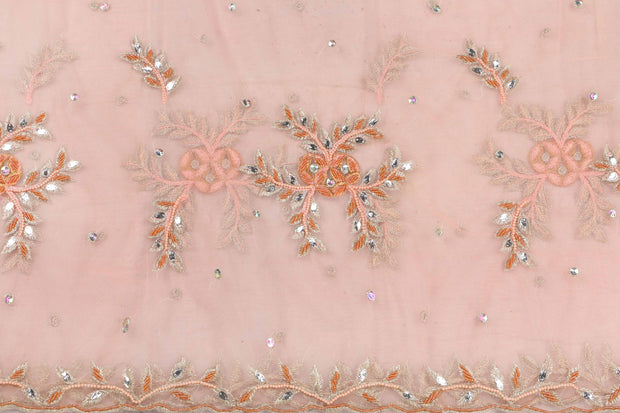 Hand Embroidered Blouse Design # 3413 - Peach - 1.75 Yards