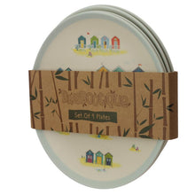 Load image into Gallery viewer, Bamboo Fibre Beach Hut Reusable Side Plate Set of 4 plates BambooBeautiful