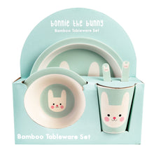 Load image into Gallery viewer, Pale blue/green kids dinner set with smiling bunny picture on, in cardboard packaging.