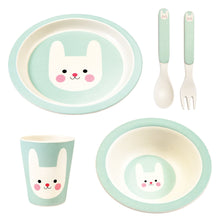 Load image into Gallery viewer, Pale Blue/green plate, bowl, beaker and spoon and fork, all with smiling bunny's head picture