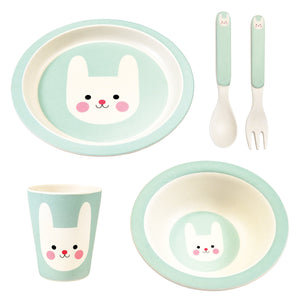 Pale Blue/green plate, bowl, beaker and spoon and fork, all with smiling bunny's head picture