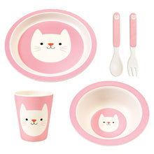 Load image into Gallery viewer, Bamboo Fibre Cookie the Cat Dinnerware Set Dinnerware Set BambooBeautiful