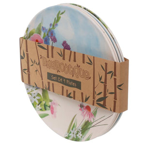 Bamboo Reusable Picnic Plates - Set of 4 - Botanical Gardens BambooBeautiful