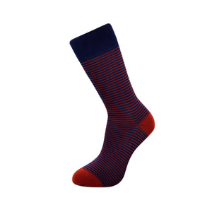 Bamboo Socks Blue and Burgundy striped single sock