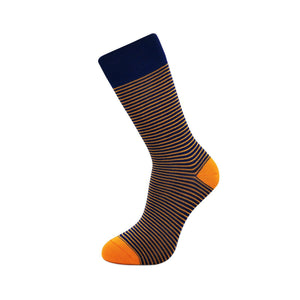 Bamboo Socks - Blue with Orange Stripes BambooBeautiful Ltd