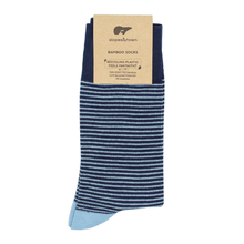 Load image into Gallery viewer, Slopes and Town Bamboo Socks Light and Dark blue stripes