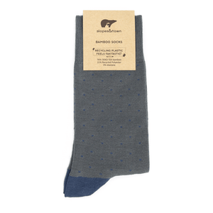 Bamboo Socks - Light Grey with Blue Dots BambooBeautiful Ltd