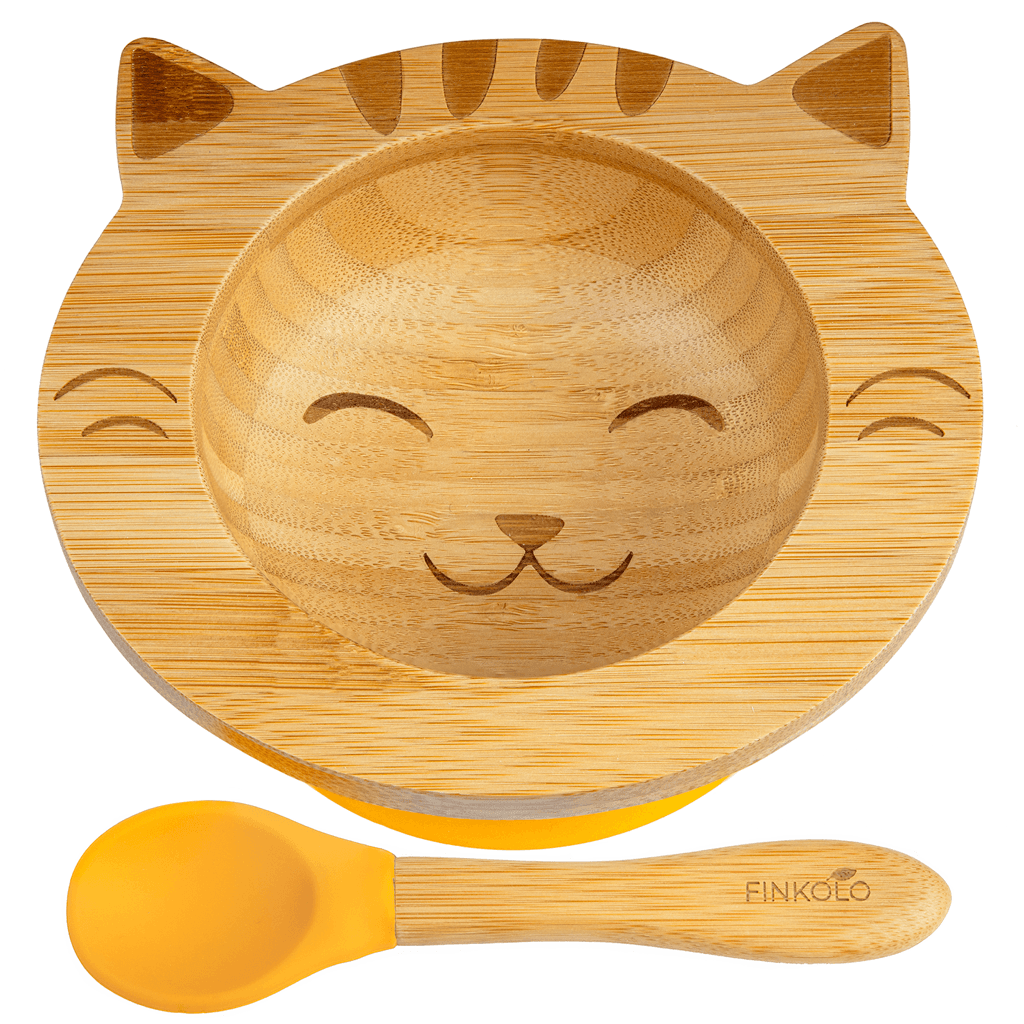 Bamboo Suction Bowl and Spoon - Cat BambooBeautiful Ltd