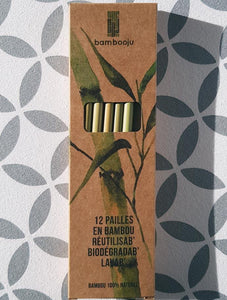 Bamboo straws in cardboard packaging. A box of 12.